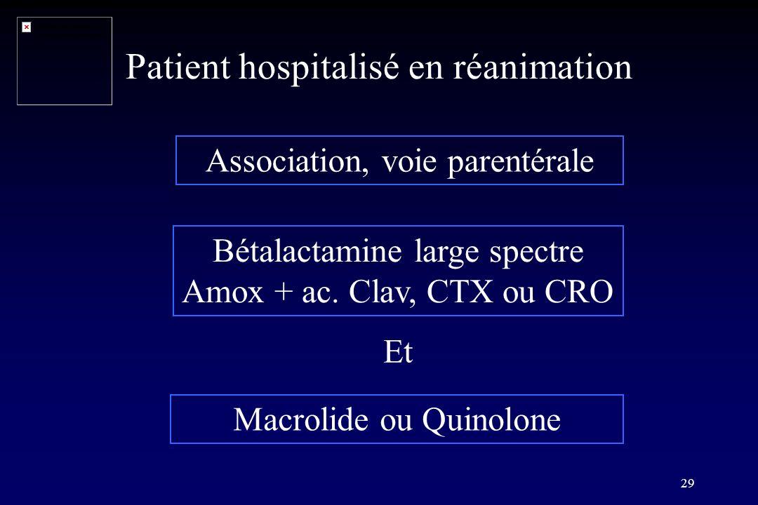 29 Patient hospitalisé en réanimation Association, voie parentérale Bétalactamine large spectre Amox + ac. Clav, CTX ou CRO Macrolide ou Quinolone Et