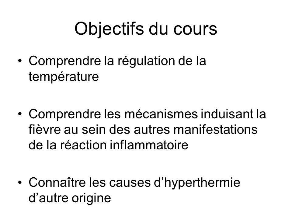 Objectifs du cours Comprendre la régulation de la température Comprendre les mécanismes induisant la fièvre au sein des autres manifestations de la ré