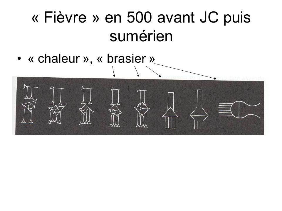« Fièvre » en 500 avant JC puis sumérien « chaleur », « brasier »