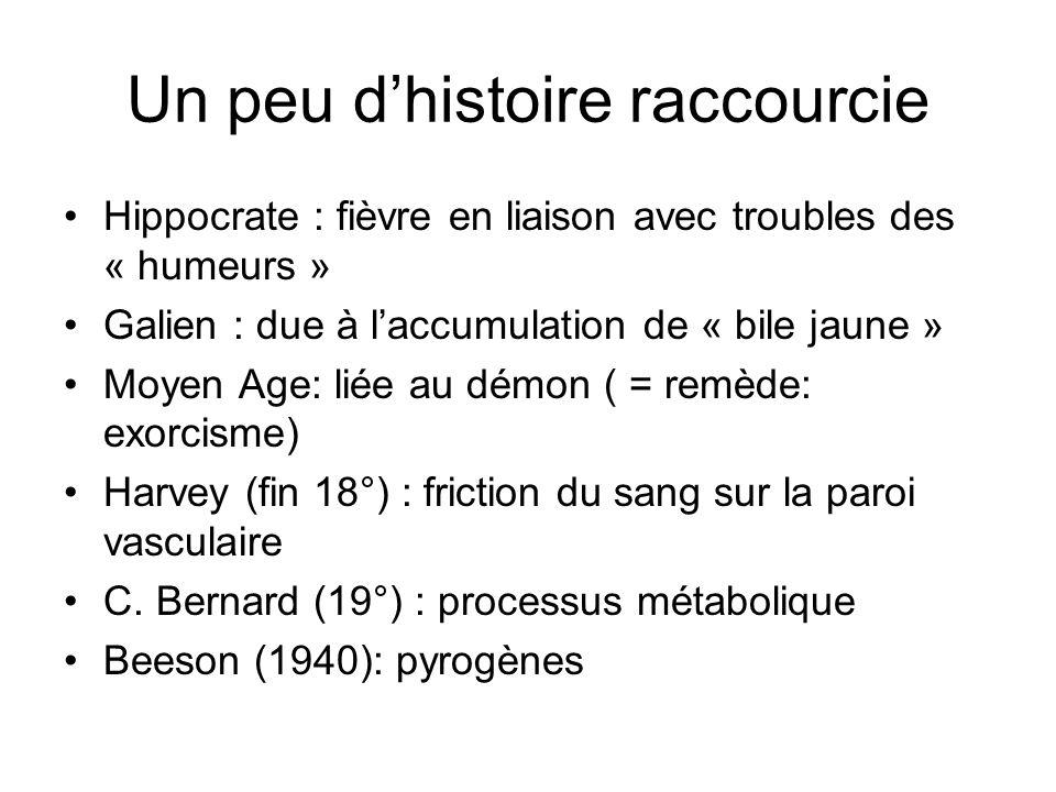 Un peu dhistoire raccourcie Hippocrate : fièvre en liaison avec troubles des « humeurs » Galien : due à laccumulation de « bile jaune » Moyen Age: lié