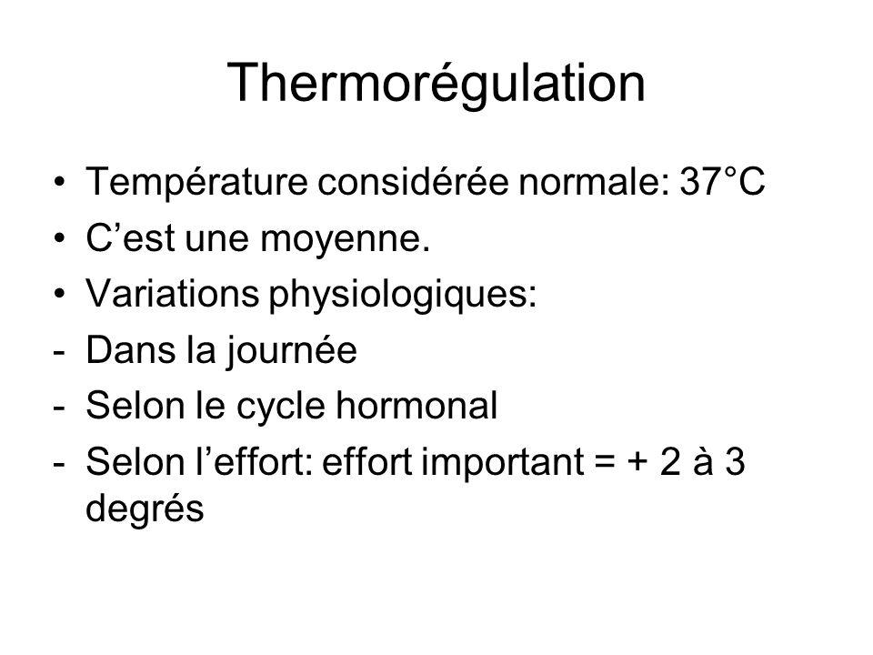 Thermorégulation Température considérée normale: 37°C Cest une moyenne. Variations physiologiques: -Dans la journée -Selon le cycle hormonal -Selon le