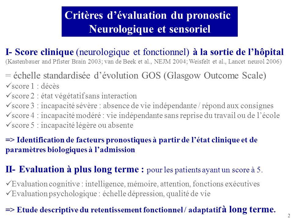 2 Critères dévaluation du pronostic Neurologique et sensoriel I- Score clinique (neurologique et fonctionnel) à la sortie de lhôpital (Kastenbauer and