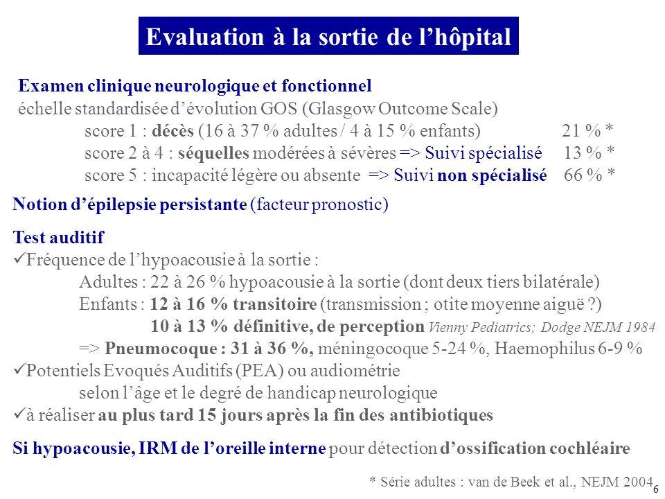 6 Evaluation à la sortie de lhôpital Examen clinique neurologique et fonctionnel échelle standardisée dévolution GOS (Glasgow Outcome Scale) score 1 :