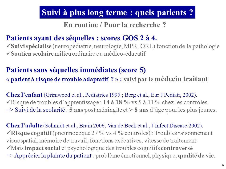 9 En routine / Pour la recherche ? Patients ayant des séquelles : scores GOS 2 à 4. Suivi spécialisé (neuropédiatrie, neurologie, MPR, ORL) fonction d