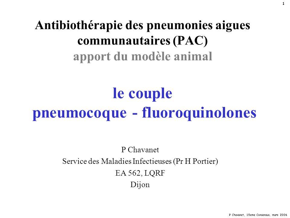 P Chavanet, 15eme Consensus, mars 2006 12 Concentration minimale inhibitrice (CMI) in vitro Concentration de prévention de la mutation (CPM) in vitro CMICPM inoculum (log CFU/ml) 5-6>10 10 5-6 10 >10 incubation (h)2448(72) au delàmutants