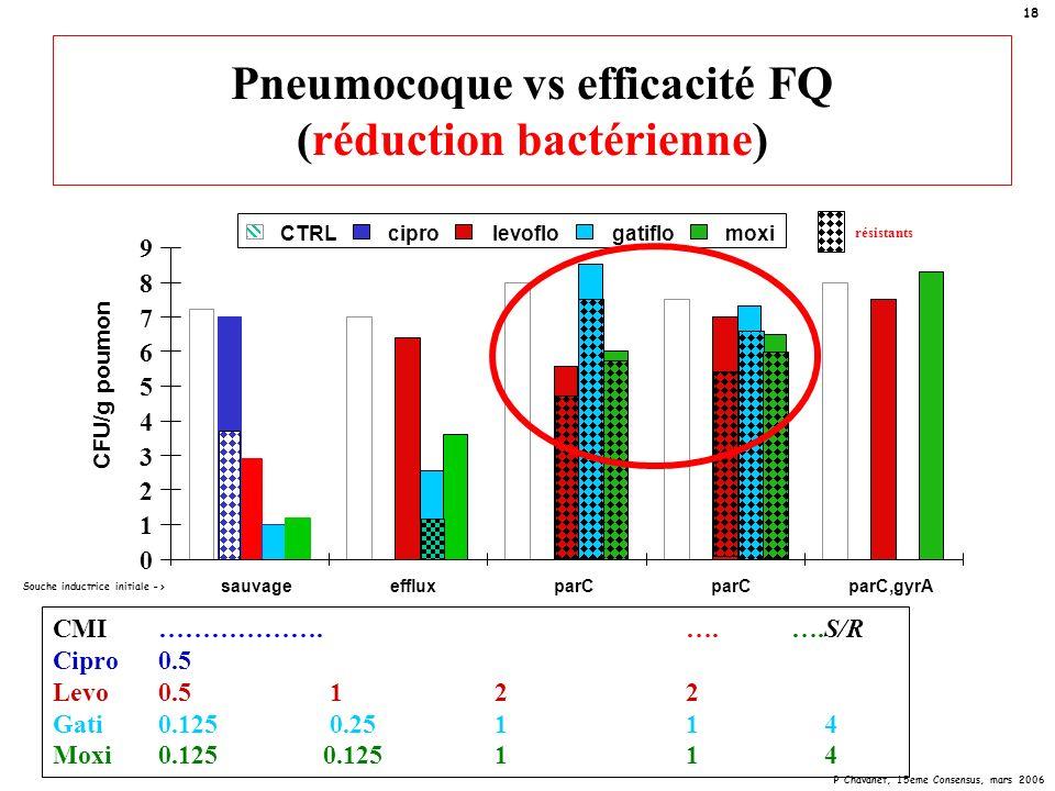 P Chavanet, 15eme Consensus, mars 2006 18 Pneumocoque vs efficacité FQ (réduction bactérienne) CMI……………….….….S/R Cipro0.5 Levo0.5 1 22 Gati0.125 0.25