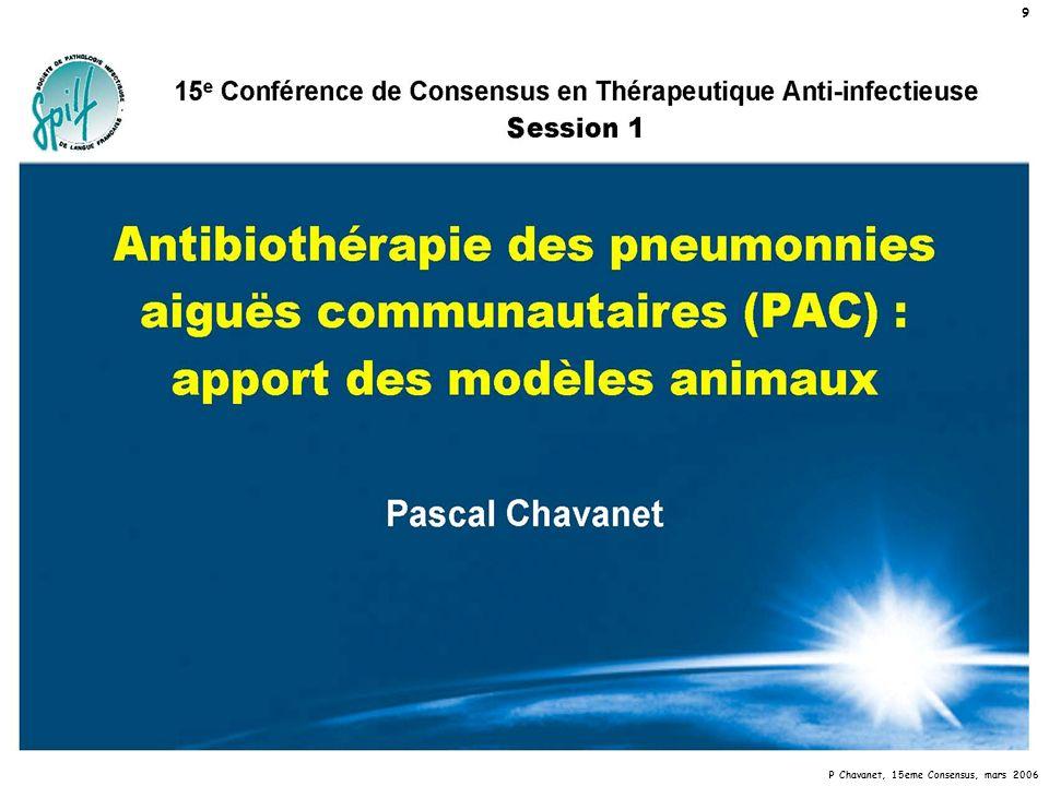 P Chavanet, 15eme Consensus, mars 2006 20 PnP pneumocoque vs Fluoroquinolones apport du modèle expérimental Conclusion 2b Un traitement par fluoroquinolone d une pneumonie à pneumocoque sensible et avec ou sans résistance à bas niveau s accompagne: –d une faible réduction bactérienne –de mutants résistants –très fréquents en cas de parC initial si les concentrations sont « dans la fenêtre de mutation » –sous la CPM