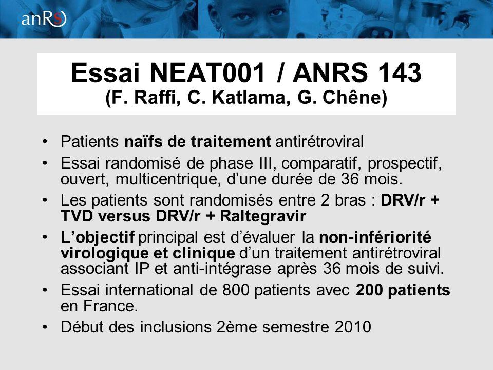 10 Essai NEAT001 / ANRS 143 (F. Raffi, C. Katlama, G. Chêne) Patients naïfs de traitement antirétroviral Essai randomisé de phase III, comparatif, pro