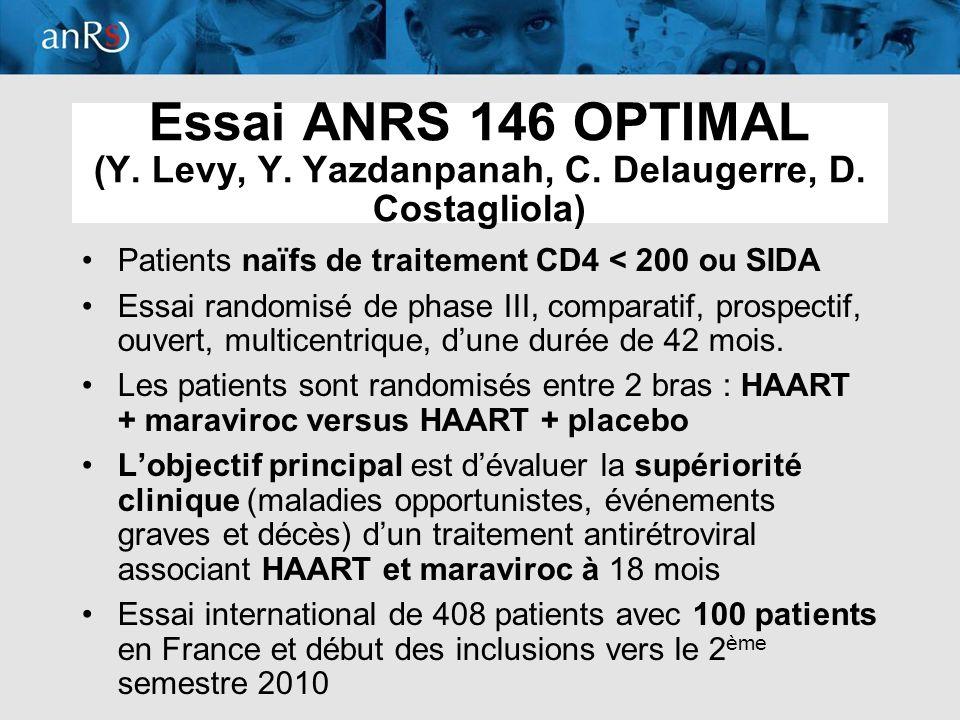 11 Essai ANRS 146 OPTIMAL (Y. Levy, Y. Yazdanpanah, C. Delaugerre, D. Costagliola) Patients naïfs de traitement CD4 < 200 ou SIDA Essai randomisé de p