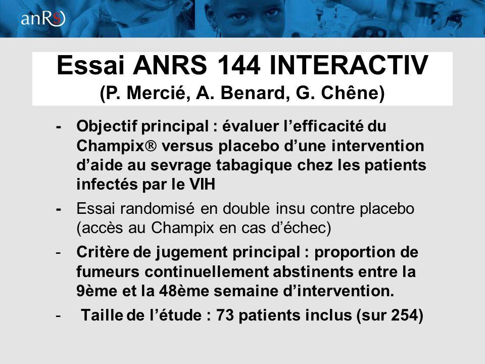 6 -Objectif principal : évaluer lefficacité du Champix versus placebo dune intervention daide au sevrage tabagique chez les patients infectés par le V