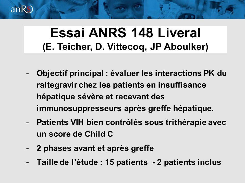 8 -Objectif principal : évaluer les interactions PK du raltegravir chez les patients en insuffisance hépatique sévère et recevant des immunosuppresseu
