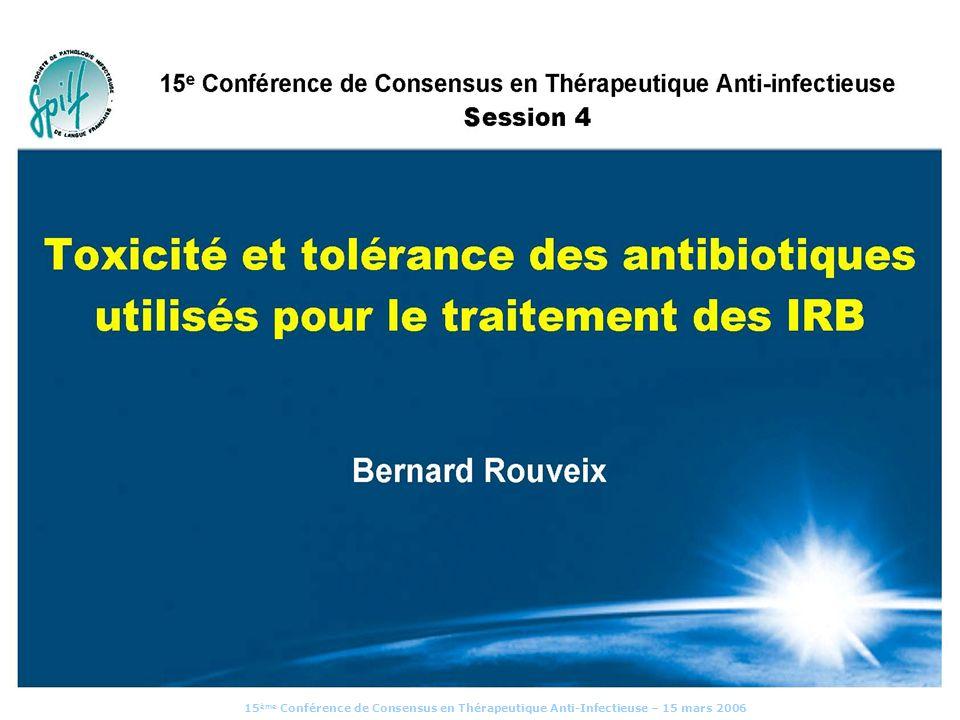 15 ème Conférence de Consensus en Thérapeutique Anti-Infectieuse – 15 mars 2006 Fluoroquinolones : balance bénéfice / risque BENEFICE risque (en respectant les règles du bon usage) Com.