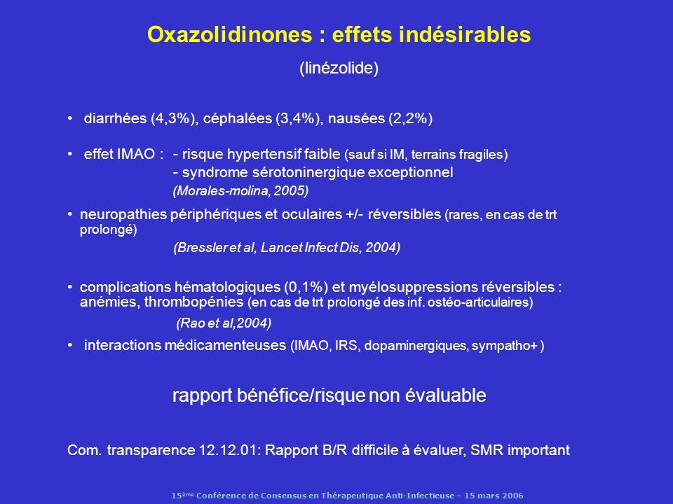 15 ème Conférence de Consensus en Thérapeutique Anti-Infectieuse – 15 mars 2006 Oxazolidinones : effets indésirables (linézolide) diarrhées (4,3%), cé