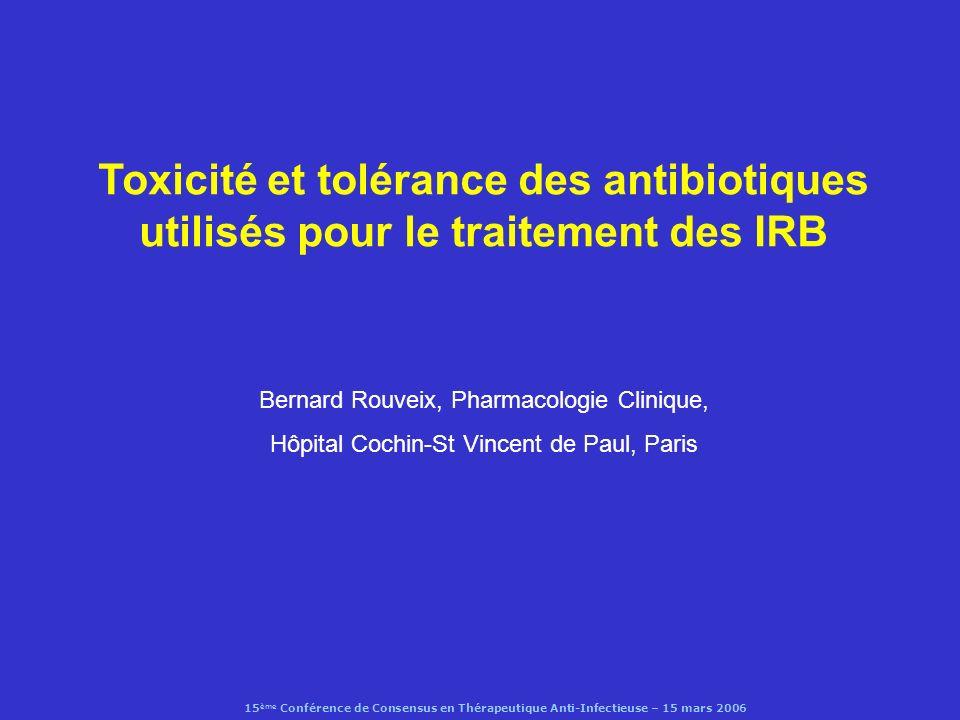 15 ème Conférence de Consensus en Thérapeutique Anti-Infectieuse – 15 mars 2006 Streptogramines : effets indésirables (quinupristin – dalfopristin) tolérance locale : douleur (40%), inflammation (42%), œdème, thrombophlébite (2,4%) arthralgies, myalgies (10 – 50%) (dose dépendantes, IH, dysfonction biliaire, immunosuppresseurs, infections graves) Carver et al,2003 risques dinteractions médicamenteuses (CYP 450 3A4): immunosuppresseurs, midazolam, nifédipine rapport bénéfice risque non évaluable