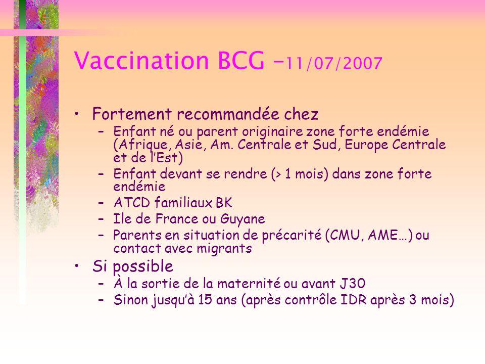 Vaccination BCG – 11/07/2007 Fortement recommandée chez –Enfant né ou parent originaire zone forte endémie (Afrique, Asie, Am. Centrale et Sud, Europe