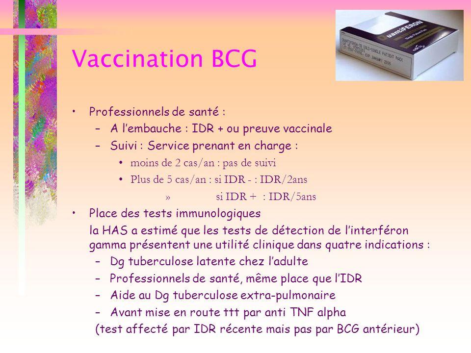 Vaccination BCG Professionnels de santé : –A lembauche : IDR + ou preuve vaccinale –Suivi : Service prenant en charge : moins de 2 cas/an : pas de sui