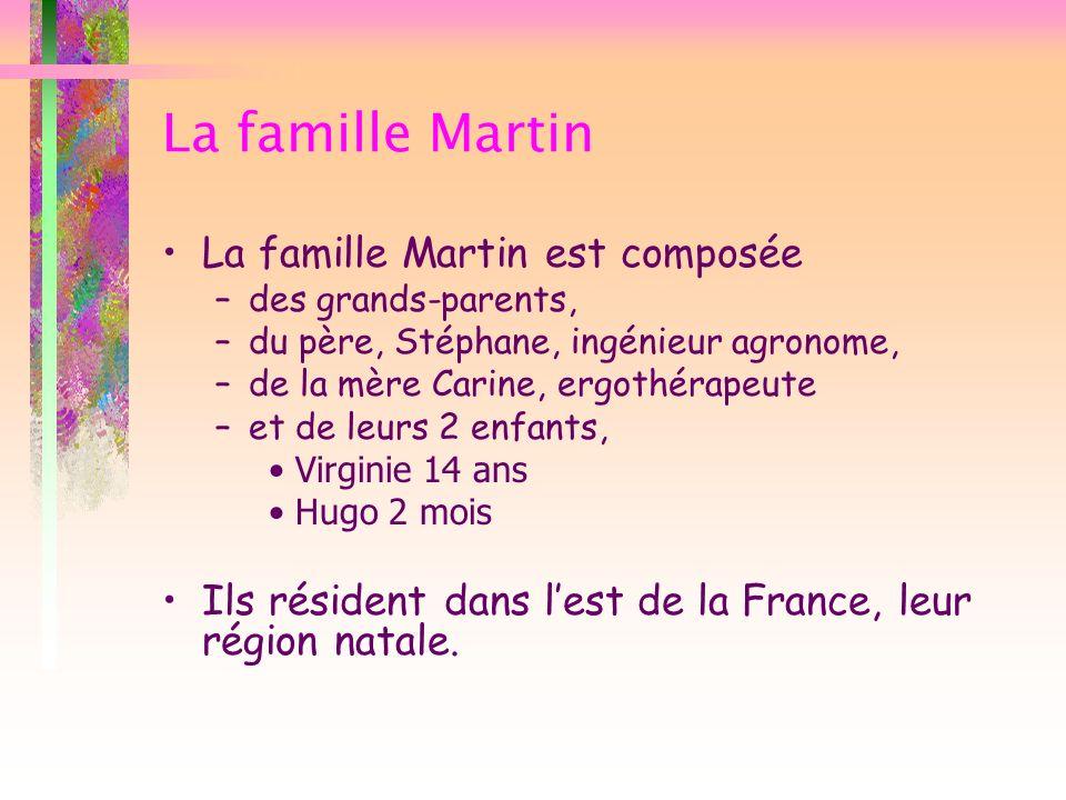 La famille Martin La famille Martin est composée –des grands-parents, –du père, Stéphane, ingénieur agronome, –de la mère Carine, ergothérapeute –et d