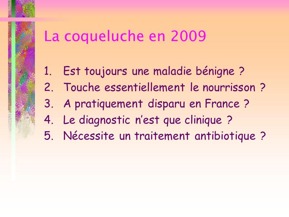 La coqueluche en 2009 1.Est toujours une maladie bénigne ? 2.Touche essentiellement le nourrisson ? 3.A pratiquement disparu en France ? 4.Le diagnost