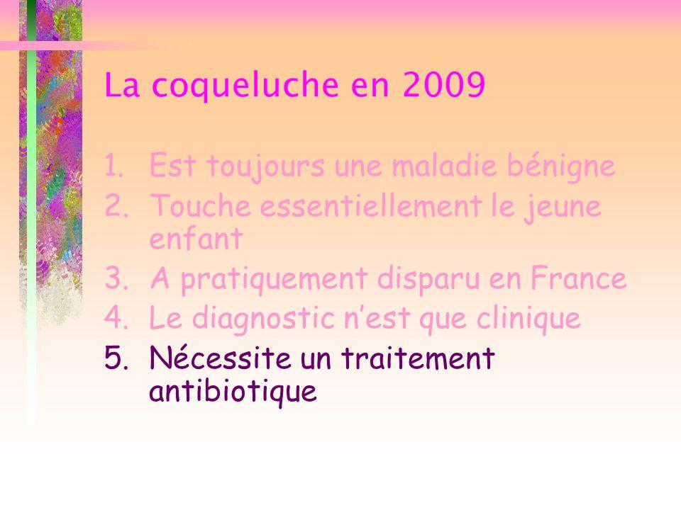 La coqueluche en 2009 1.Est toujours une maladie bénigne 2.Touche essentiellement le jeune enfant 3.A pratiquement disparu en France 4.Le diagnostic n