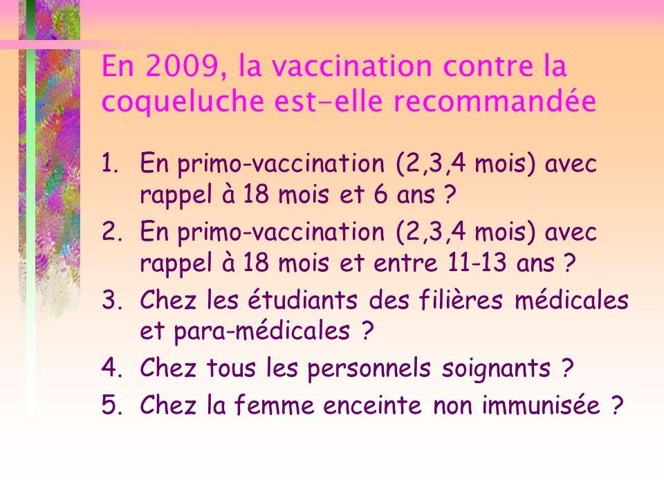 En 2009, la vaccination contre la coqueluche est-elle recommandée 1.En primo-vaccination (2,3,4 mois) avec rappel à 18 mois et 6 ans ? 2.En primo-vacc
