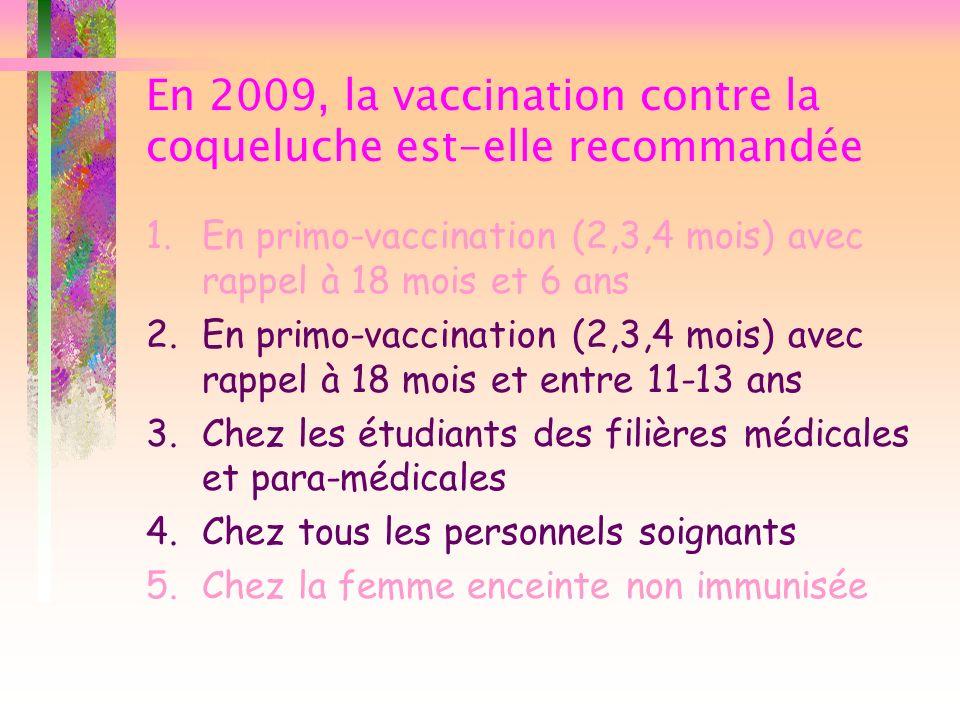 En 2009, la vaccination contre la coqueluche est-elle recommandée 1.En primo-vaccination (2,3,4 mois) avec rappel à 18 mois et 6 ans 2.En primo-vaccin