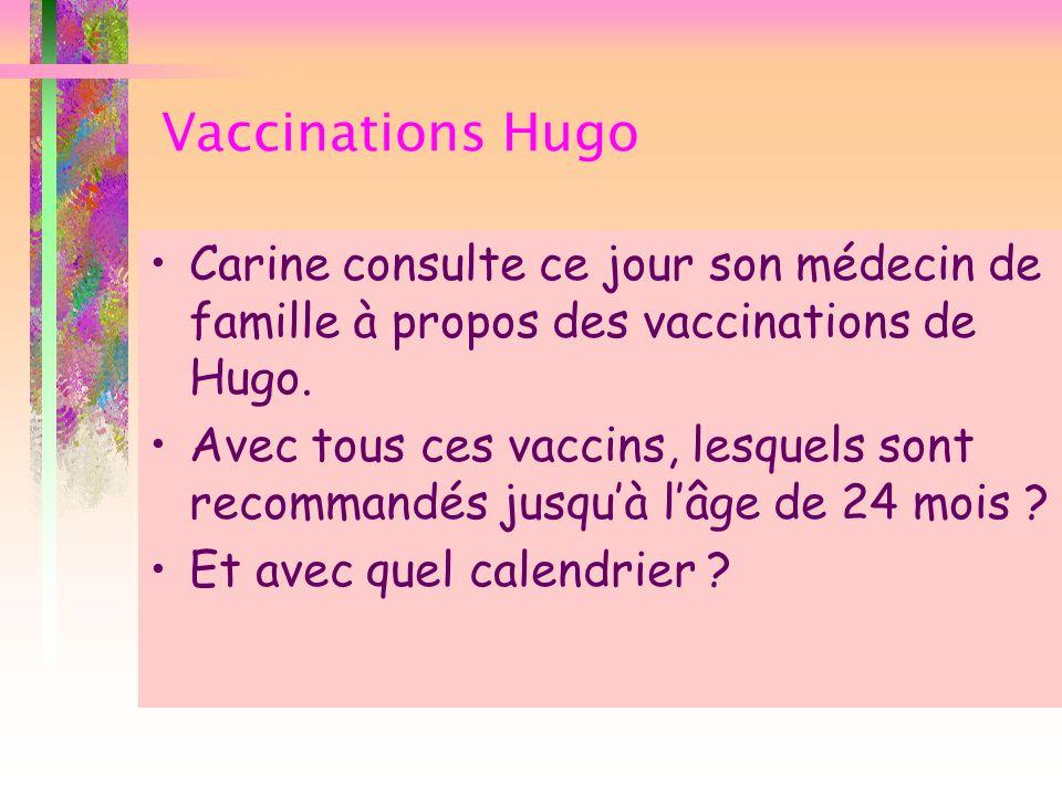Calendrier vaccinal de 2 à 24 mois Pas recommandé chez Hugo