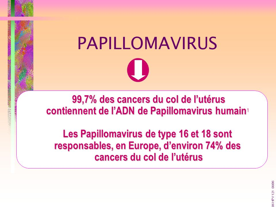 99,7% des cancers du col de lutérus contiennent de lADN de Papillomavirus humain 1 Les Papillomavirus de type 16 et 18 sont responsables, en Europe, d