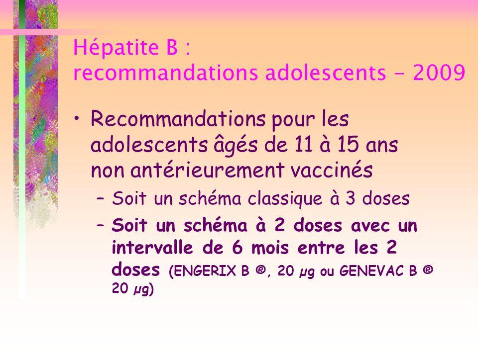 Hépatite B : recommandations adolescents - 2009 Recommandations pour les adolescents âgés de 11 à 15 ans non antérieurement vaccinés –Soit un schéma c