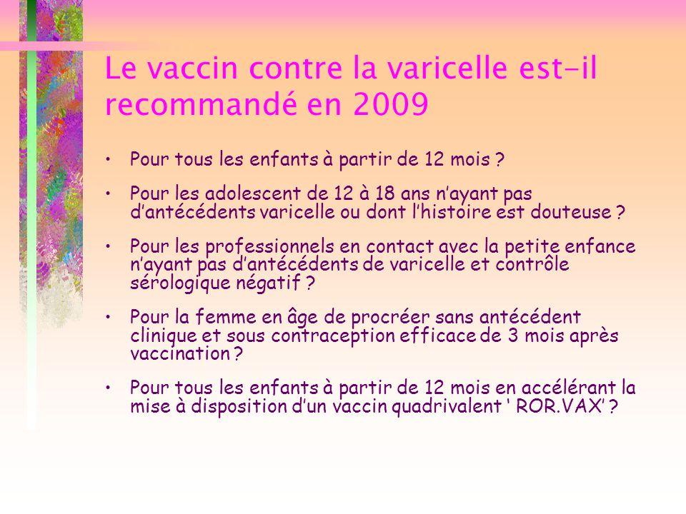 Le vaccin contre la varicelle est-il recommandé en 2009 Pour tous les enfants à partir de 12 mois ? Pour les adolescent de 12 à 18 ans nayant pas dant