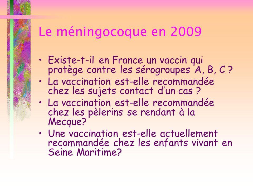 Le méningocoque en 2009 Existe-t-il en France un vaccin qui protège contre les sérogroupes A, B, C ? La vaccination est-elle recommandée chez les suje