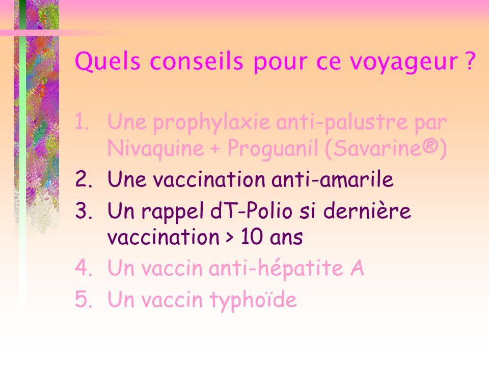Quels conseils pour ce voyageur ? 1.Une prophylaxie anti-palustre par Nivaquine + Proguanil (Savarine®) 2.Une vaccination anti-amarile 3.Un rappel dT-