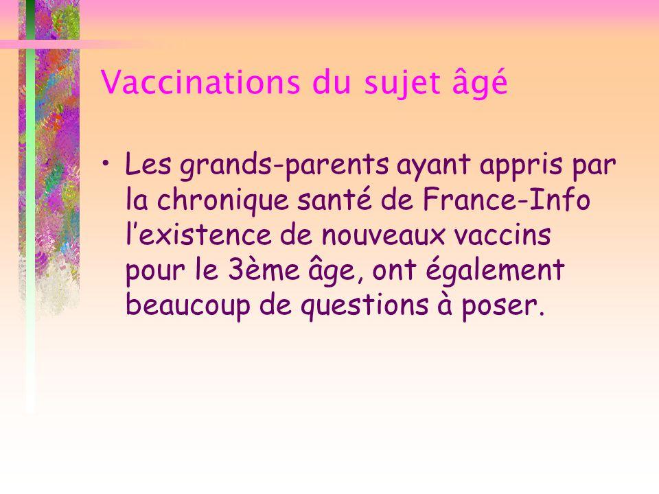 Vaccinations du sujet âgé Les grands-parents ayant appris par la chronique santé de France-Info lexistence de nouveaux vaccins pour le 3ème âge, ont é