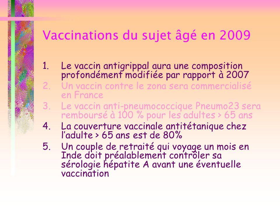 Vaccinations du sujet âgé en 2009 1.Le vaccin antigrippal aura une composition profondément modifiée par rapport à 2007 2.Un vaccin contre le zona ser