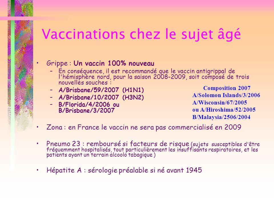 Vaccinations chez le sujet âgé Grippe : Un vaccin 100% nouveau –En conséquence, il est recommandé que le vaccin antigrippal de l'hémisphère nord, pour