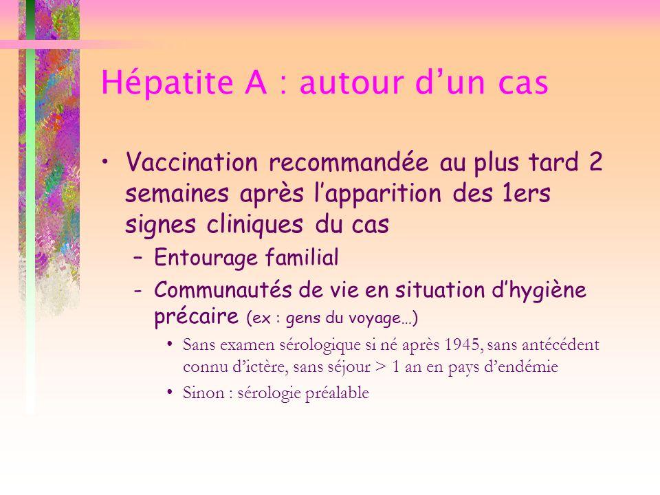 Hépatite A : autour dun cas Vaccination recommandée au plus tard 2 semaines après lapparition des 1ers signes cliniques du cas –Entourage familial -Co