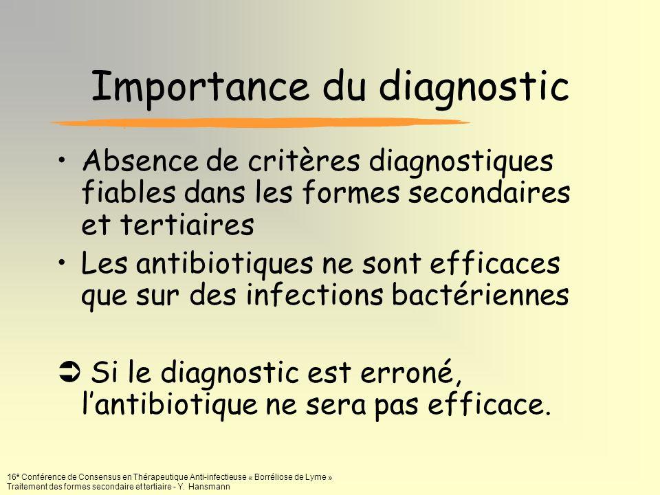 16 e Conférence de Consensus en Thérapeutique Anti-infectieuse « Borréliose de Lyme » Traitement des formes secondaire et tertiaire - Y. Hansmann Impo