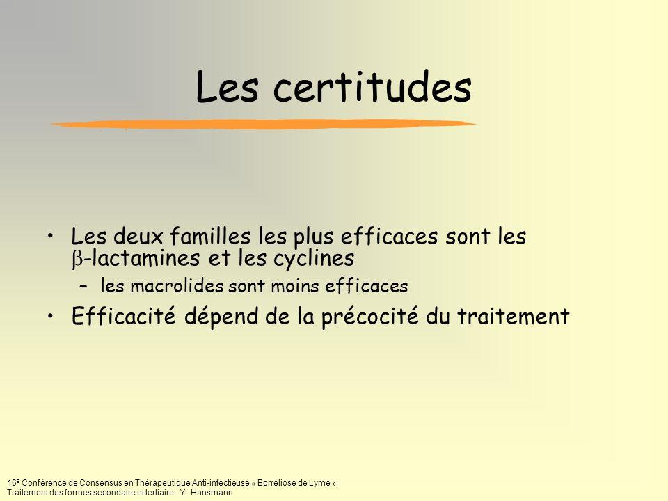 16 e Conférence de Consensus en Thérapeutique Anti-infectieuse « Borréliose de Lyme » Traitement des formes secondaire et tertiaire - Y. Hansmann Les
