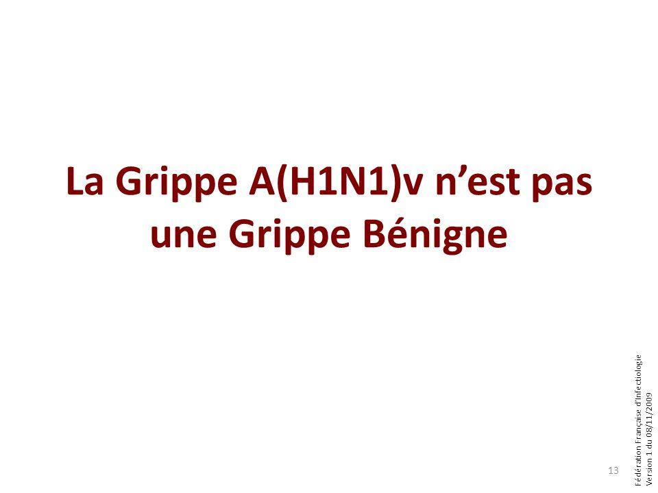 Fédération Française dInfectiologie Version 1 du 08/11/2009 13 La Grippe A(H1N1)v nest pas une Grippe Bénigne