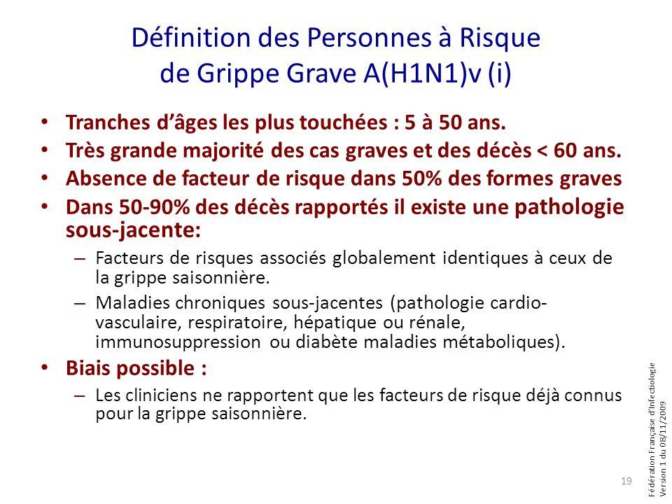 Fédération Française dInfectiologie Version 1 du 08/11/2009 Définition des Personnes à Risque de Grippe Grave A(H1N1)v (i) Tranches dâges les plus touchées : 5 à 50 ans.