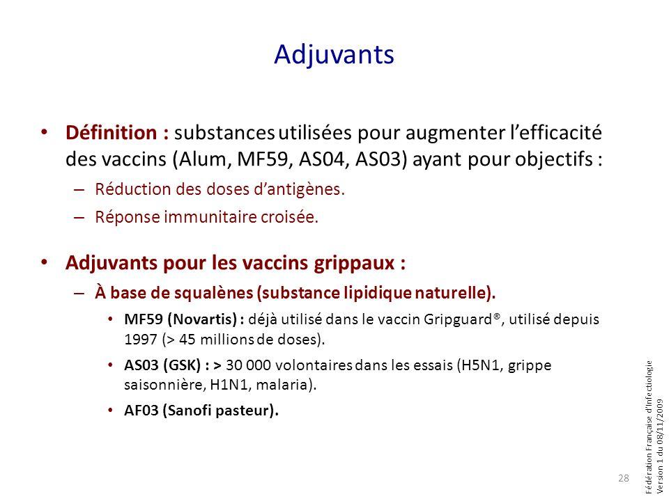 Fédération Française dInfectiologie Version 1 du 08/11/2009 Adjuvants Définition : substances utilisées pour augmenter lefficacité des vaccins (Alum,