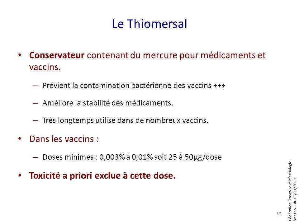 Fédération Française dInfectiologie Version 1 du 08/11/2009 Le Thiomersal Conservateur contenant du mercure pour médicaments et vaccins. – Prévient la