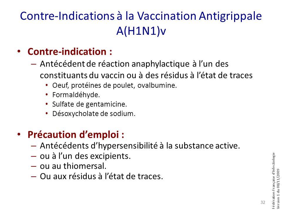 Fédération Française dInfectiologie Version 1 du 08/11/2009 Contre-Indications à la Vaccination Antigrippale A(H1N1)v Contre-indication : – Antécédent
