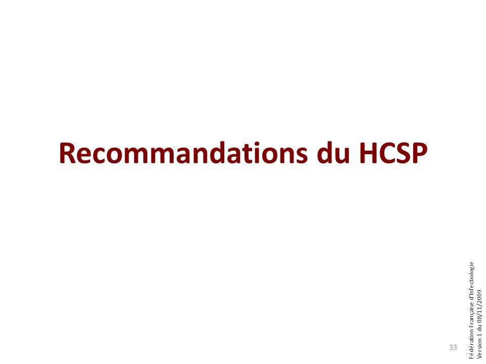 Fédération Française dInfectiologie Version 1 du 08/11/2009 Recommandations du HCSP 33