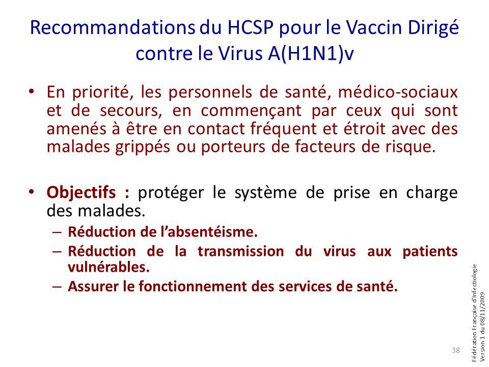 Fédération Française dInfectiologie Version 1 du 08/11/2009 Recommandations du HCSP pour le Vaccin Dirigé contre le Virus A(H1N1)v En priorité, les personnels de santé, médico-sociaux et de secours, en commençant par ceux qui sont amenés à être en contact fréquent et étroit avec des malades grippés ou porteurs de facteurs de risque.