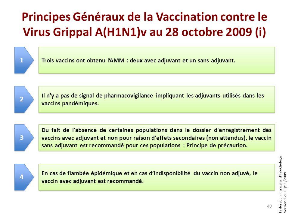 Fédération Française dInfectiologie Version 1 du 08/11/2009 Principes Généraux de la Vaccination contre le Virus Grippal A(H1N1)v au 28 octobre 2009 (i) 40 Trois vaccins ont obtenu lAMM : deux avec adjuvant et un sans adjuvant.