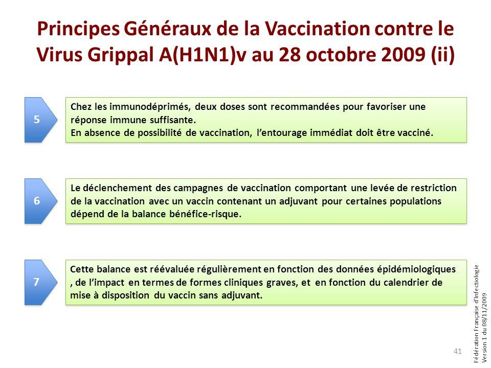 Fédération Française dInfectiologie Version 1 du 08/11/2009 Principes Généraux de la Vaccination contre le Virus Grippal A(H1N1)v au 28 octobre 2009 (ii) 41 Chez les immunodéprimés, deux doses sont recommandées pour favoriser une réponse immune suffisante.