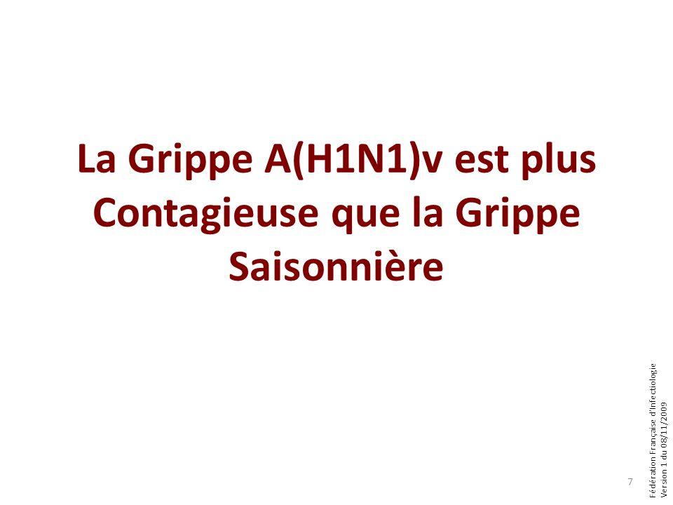 Fédération Française dInfectiologie Version 1 du 08/11/2009 La Grippe A(H1N1)v est plus Contagieuse que la Grippe Saisonnière 7