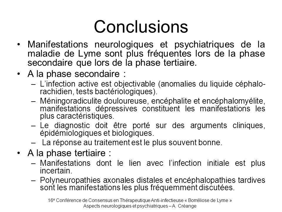 16 e Conférence de Consensus en Thérapeutique Anti-infectieuse « Borréliose de Lyme » Aspects neurologiques et psychiatriques – A. Créange Conclusions