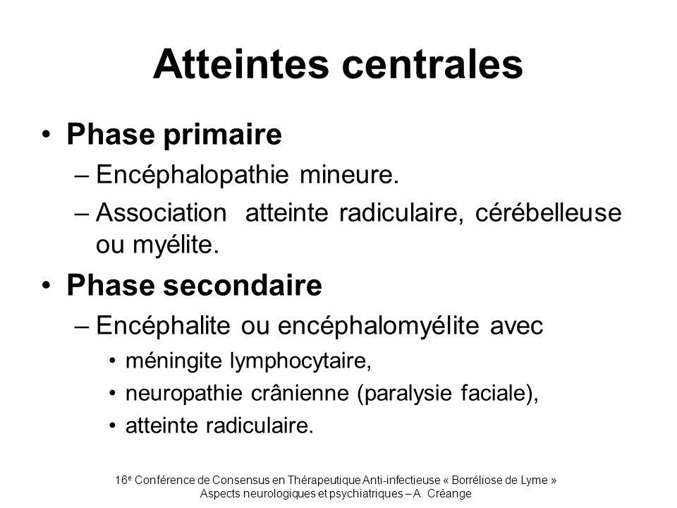 16 e Conférence de Consensus en Thérapeutique Anti-infectieuse « Borréliose de Lyme » Aspects neurologiques et psychiatriques – A. Créange Atteintes c
