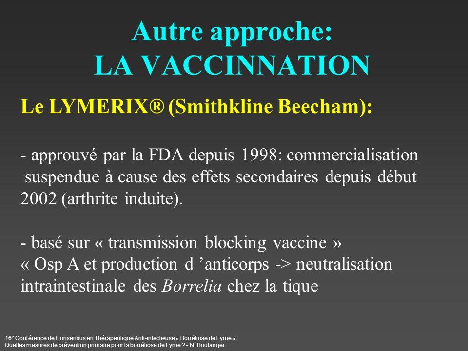 16 e Conférence de Consensus en Thérapeutique Anti-infectieuse « Borréliose de Lyme » Quelles mesures de prévention primaire pour la borréliose de Lym